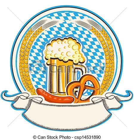 EPS Vectors of Oktoberfest label with beer and food. Bavaria flag.