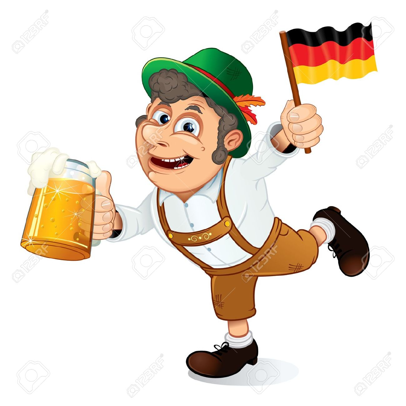 Funny Oktoberfest Man With Beer Stein And Flag Of Germany, Vector.