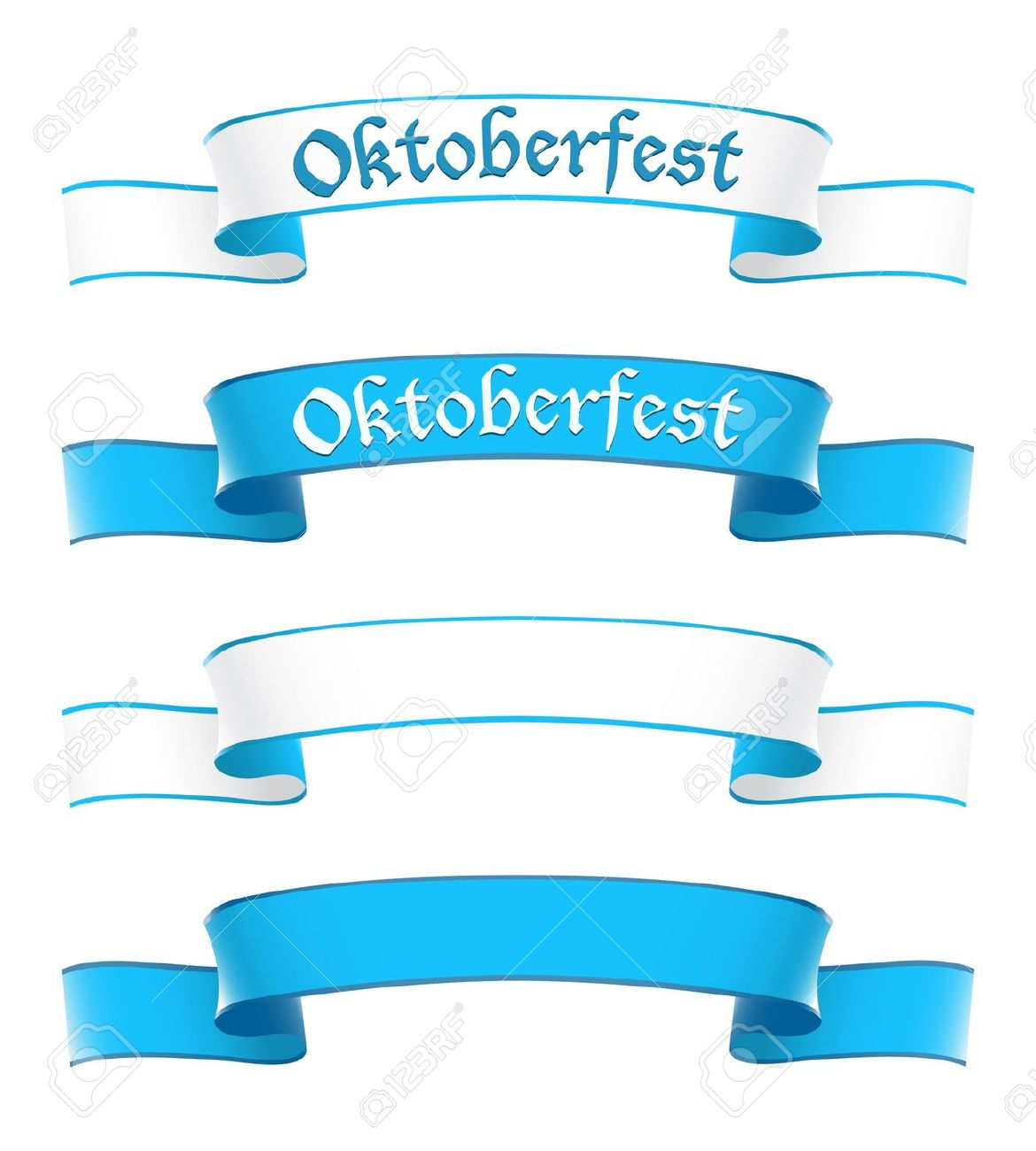 Oktoberfest Banners In Bavarian Colors Royalty Free Cliparts.