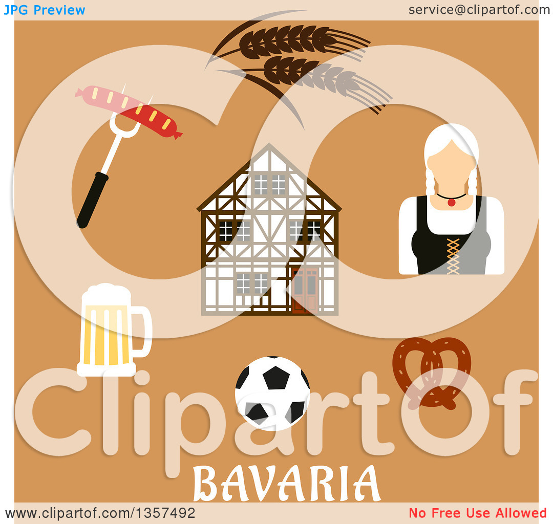 Clipart of a Flat Design Woman and Bavaria Travel Icons over Text.