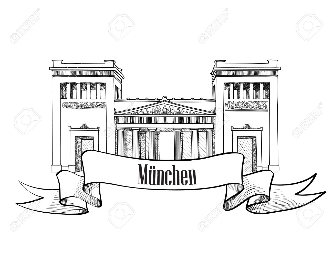 Gateway Propylaea In Munich, Bavaria, Germany Hand Drawn Landmark.