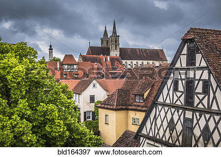 Picture of Rooftops of buildings in city, Rothenburg, Bavaria.