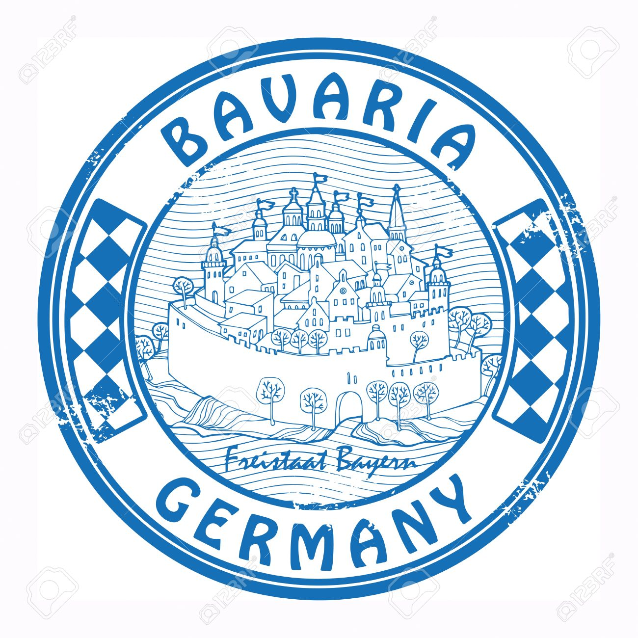 Grunge Rubber Stamp With The Castle And Words Bavaria, Germany.