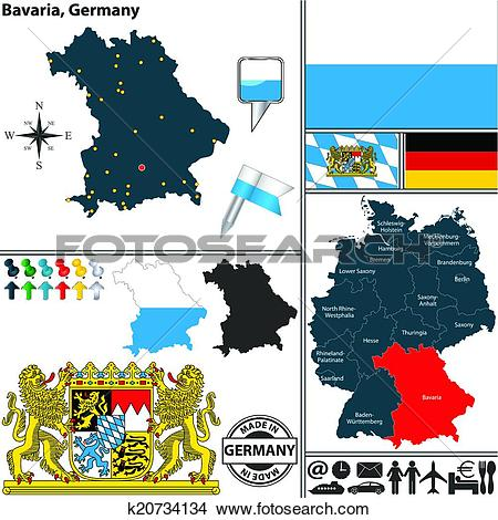 Clipart of Map of Bavaria, Germany k20734134.