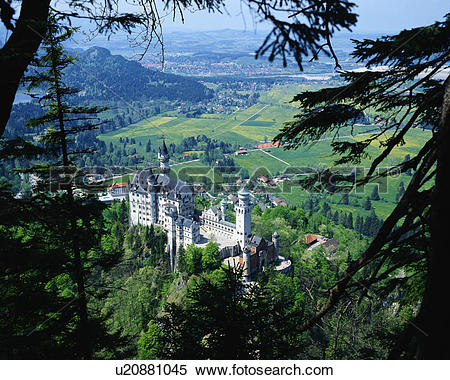 Stock Image of Aerial view of Neuschwanstein castle, Bavaria.