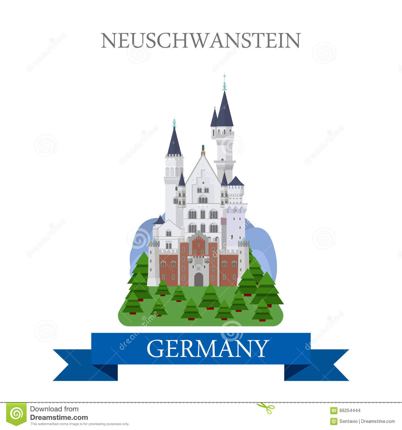Neuschwanstein Castle Bavaria Germany Flat Vector Attraction Stock.