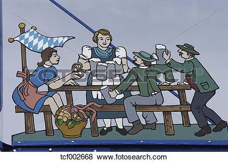 Pictures of Germany, Bavaria, Munich, Beer garden scene on guild.