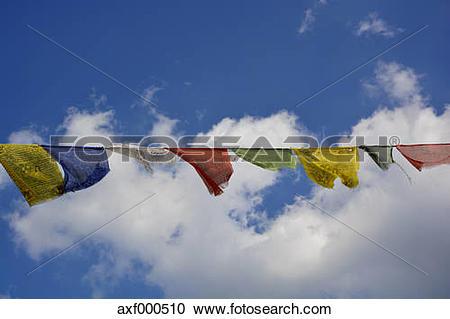 Stock Photography of Germany, Bavaria, Munich, prayer flag of the.