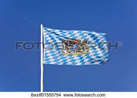 "Stock Photo of ""A Bavarian flag, Free State of Bavaria, white."