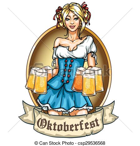 Bavarian girl Clip Art Vector Graphics. 282 Bavarian girl EPS.