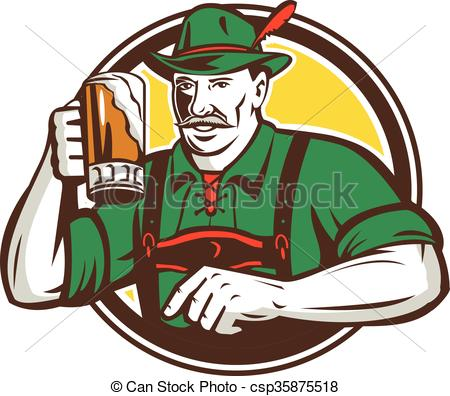 Vector Clip Art of Oktoberfest Bavarian Beer Drinker Circle Retro.