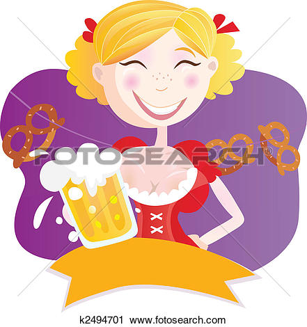 Clipart of Bavarian woman with beer k2494701.
