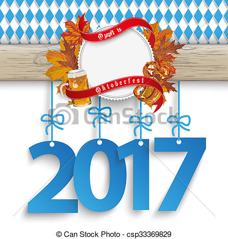 Clip Art of Bavarian Oktoberfest Wooden Banner Foliage 2017.