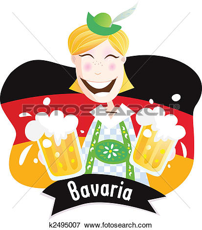 Clip Art of Oktoberfest (Bavarian male with beer) k2495007.