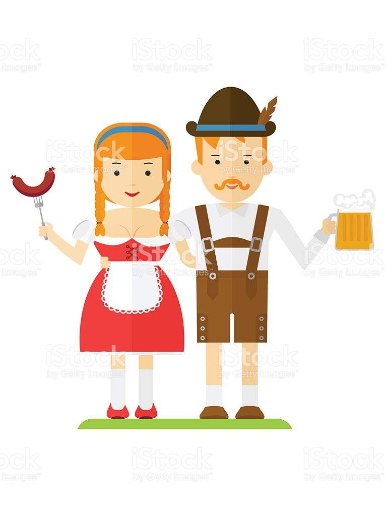 Bavarian Couple With Beer And Sausages stock vector art 521457942.
