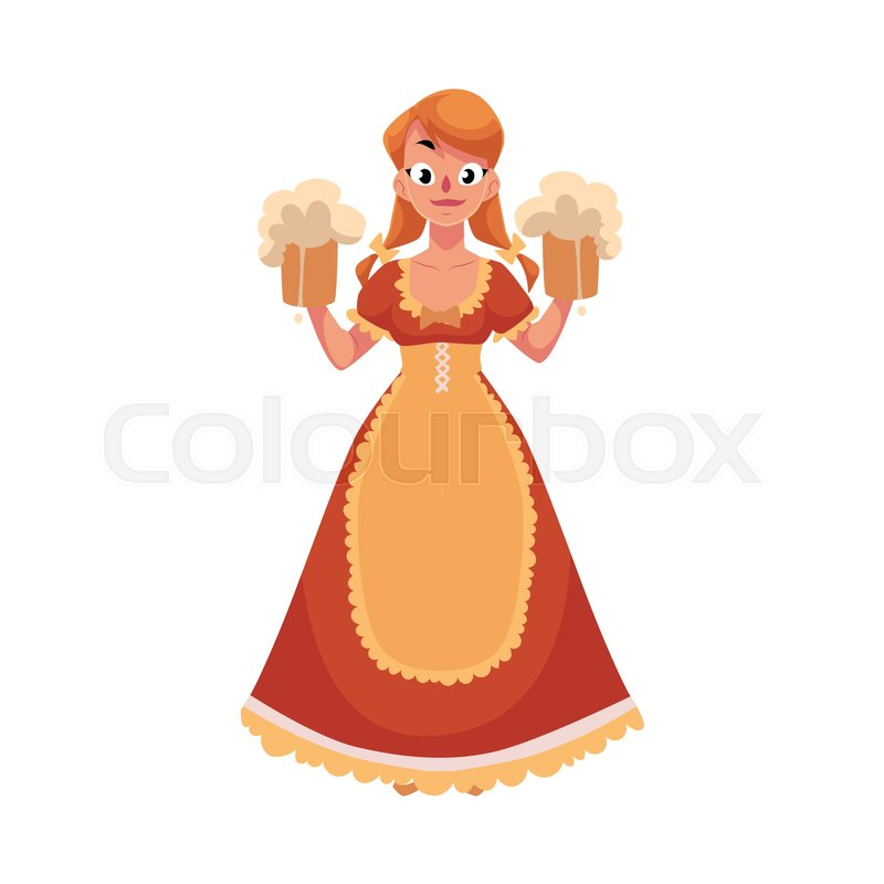 Woman in traditional German, Bavarian, Austrian country dress.