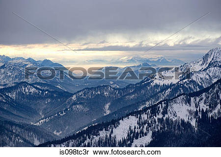 Stock Image of Austrian and german alps on the border of tyrol and.