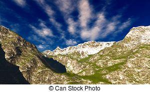 Clip Art of Idyllic landscape in the Bavarian Alps, Berchtesgaden.
