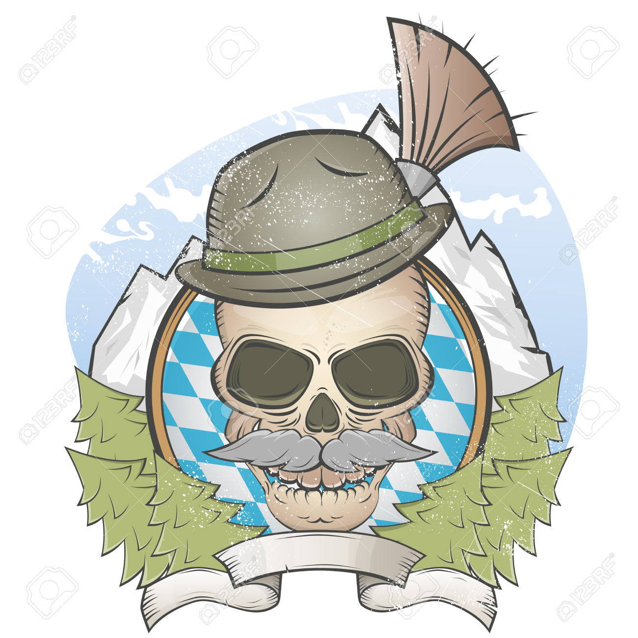 Skull With Hat And Bavarian Gamsbart Royalty Free Cliparts.