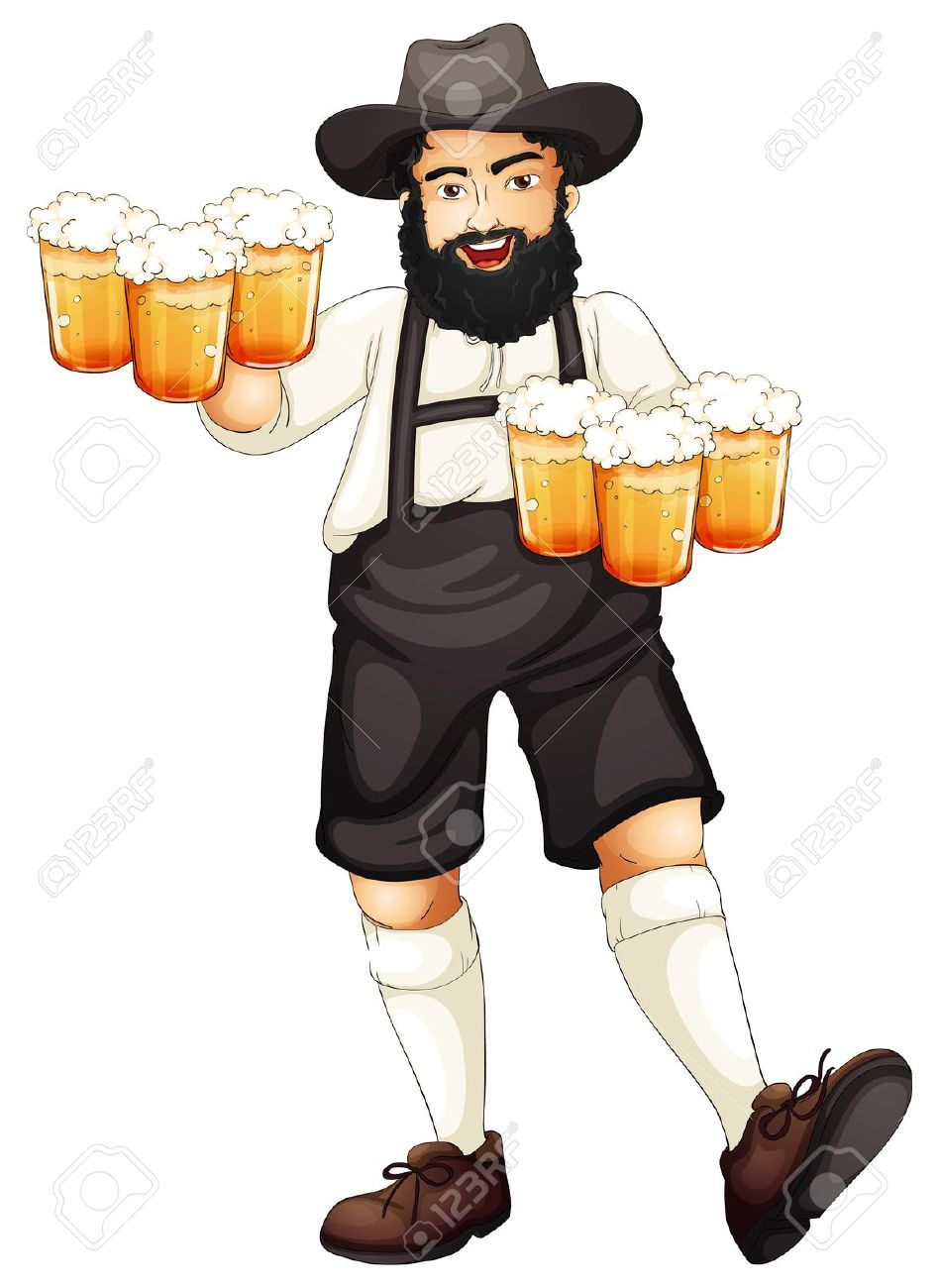 Illustration Of A Bavarian Man At Oktoberfest Royalty Free.