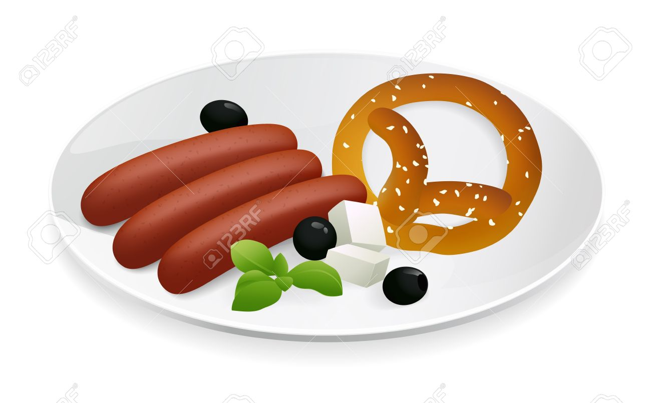 Pork Sausage With Bavarian Pretzel, Cheese And Olives On A Plate.