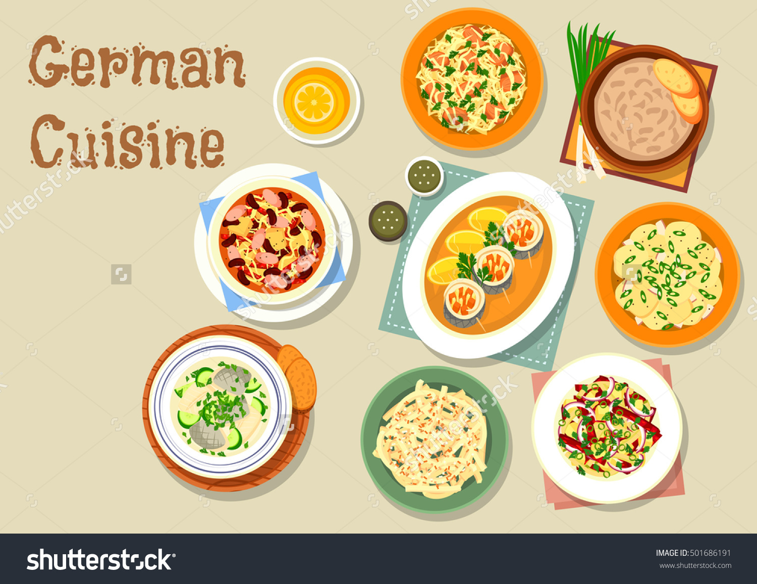 German cuisine bavarian dishes icon of pork and sauerkraut salad.