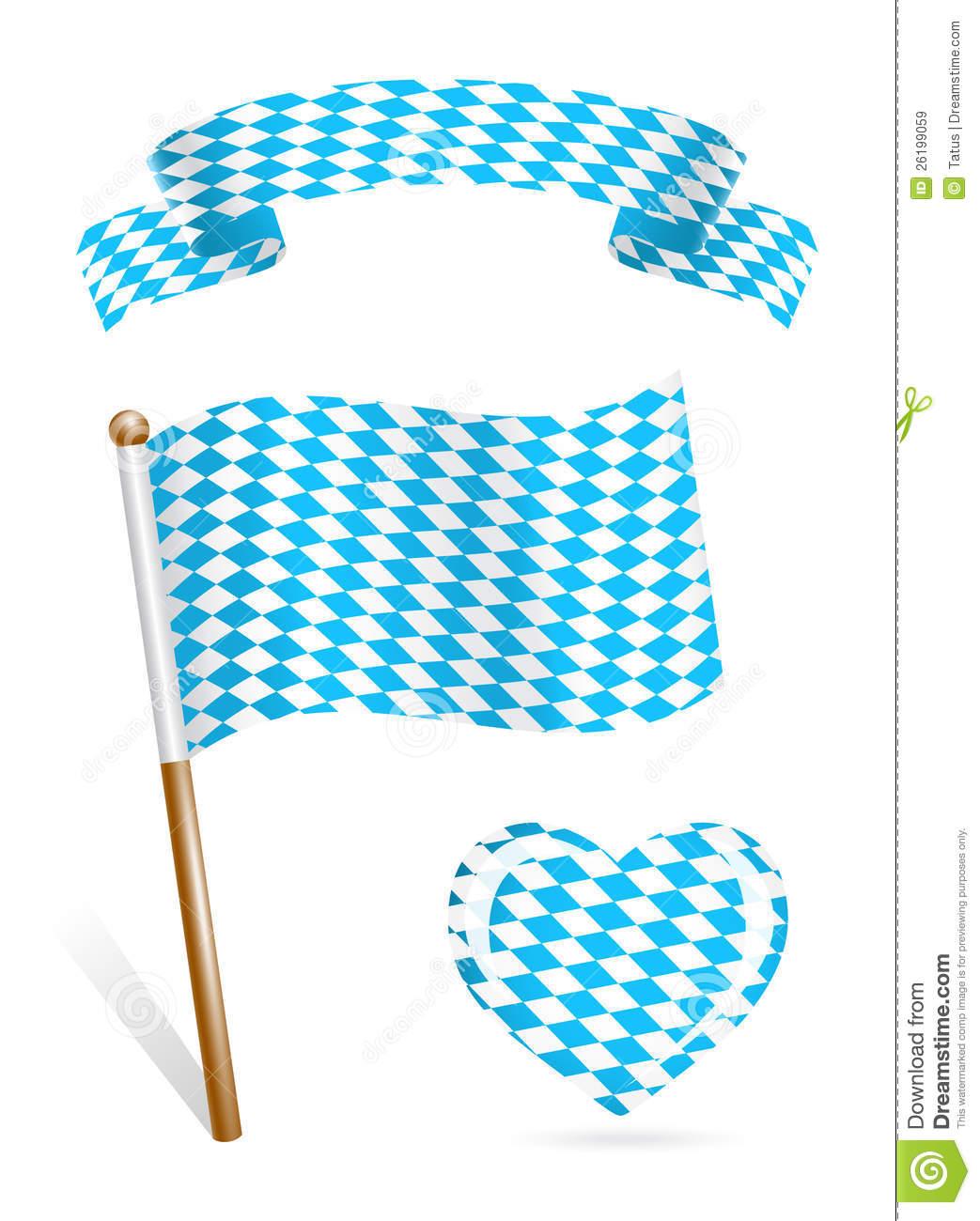 Set Of Bavaria Flag Icons Royalty Free Stock Images.