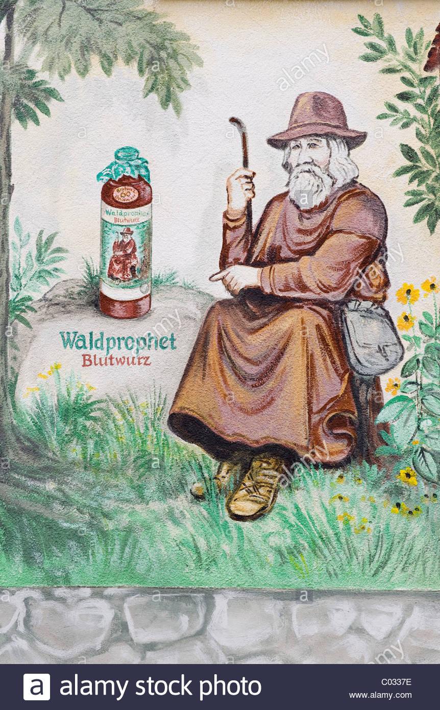 Mural Depicting Bearwurz, A Herbal Liqueur, Zwiesel, Bavarian.