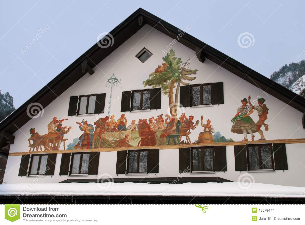 Bavaria House Painting Royalty Free Stock Photography.