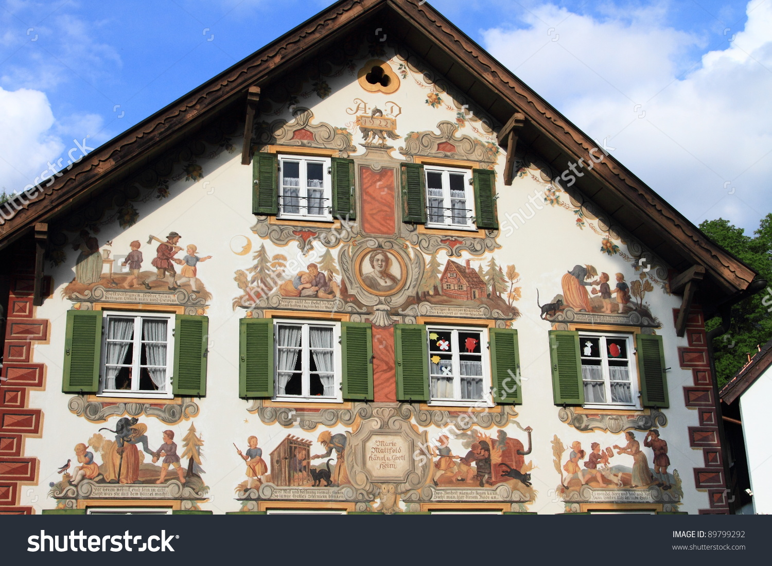Medieval Painted Houses Oberammergau Bavaria Germany Stock Photo.