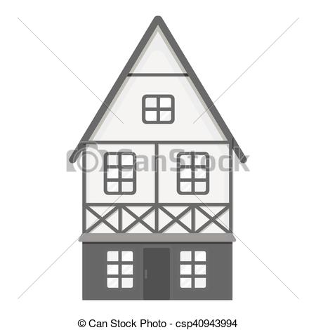 EPS Vectors of Bavarian house icon in monochrome style isolated on.