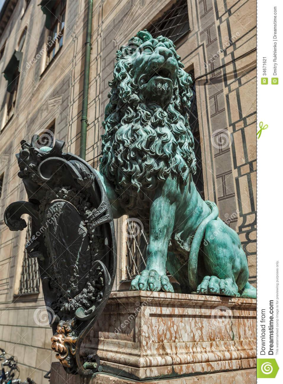 Bavarian Lion Statue At Munich Residenz Palace Stock Image.
