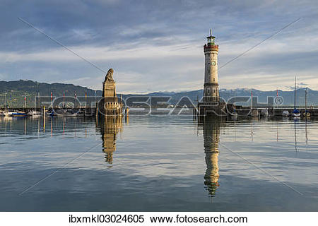"Stock Image of ""Harbour of Lindau with the Bavarian lion and a."