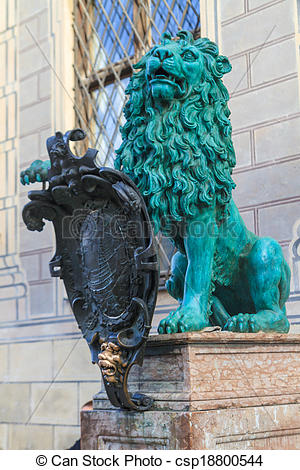 Stock Photo of Bavarian Lion Statue in front of Munich Residenz.