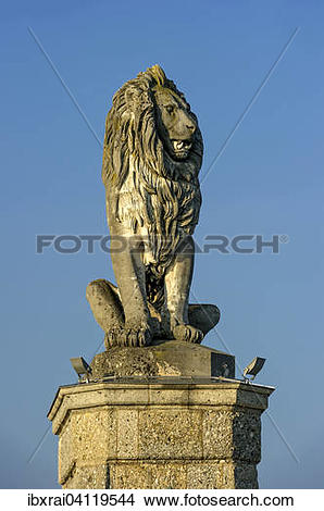 Stock Photo of Bavarian Lion at the port entrance, port, Lake.
