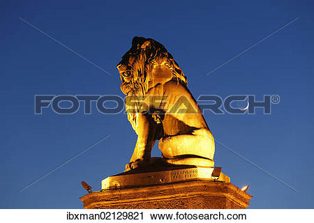 "Stock Photography of ""Bavarian lion at the harbour, Lindau on Lake."