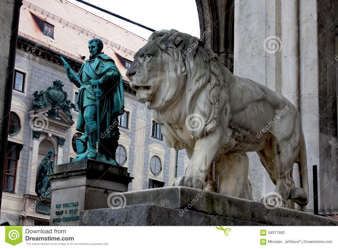 Munich, Germany, Bavarian Lion Statue In Front Of Feldherrnhalle.