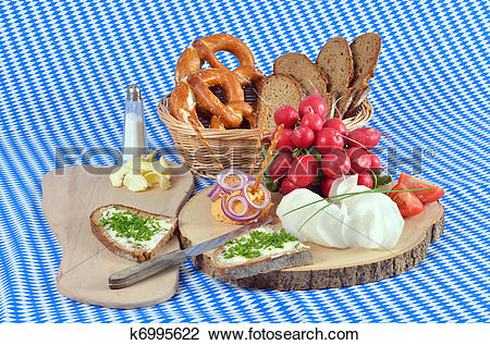 Stock Photo of Bavarian snack plate k6995622.