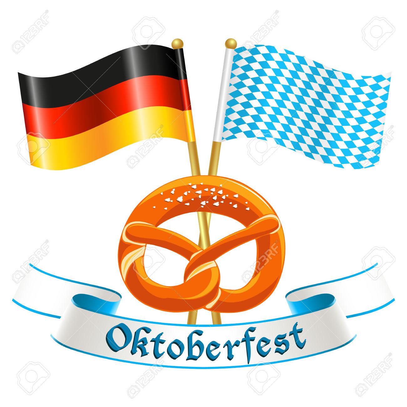 Oktoberfest Celebration Design With Silk Banner, German National.