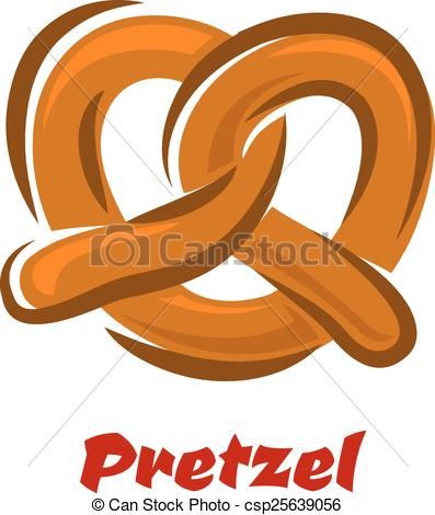 Clipart Vector of Bavarian twisted pretzel in cartoon style.