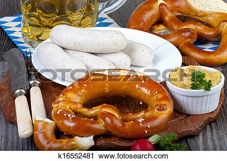 Stock Photography of Typical Bavarian veal sausage snack k16552481.