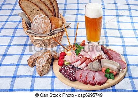 Stock Photographs of Bavarian Snack Plate.
