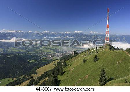 Picture of Television tower at Gruenten, Allgaeu Alps, Bavaria.