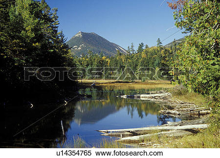 Stock Image of ME, Maine, Baxter State Park, Scenic view of Double.