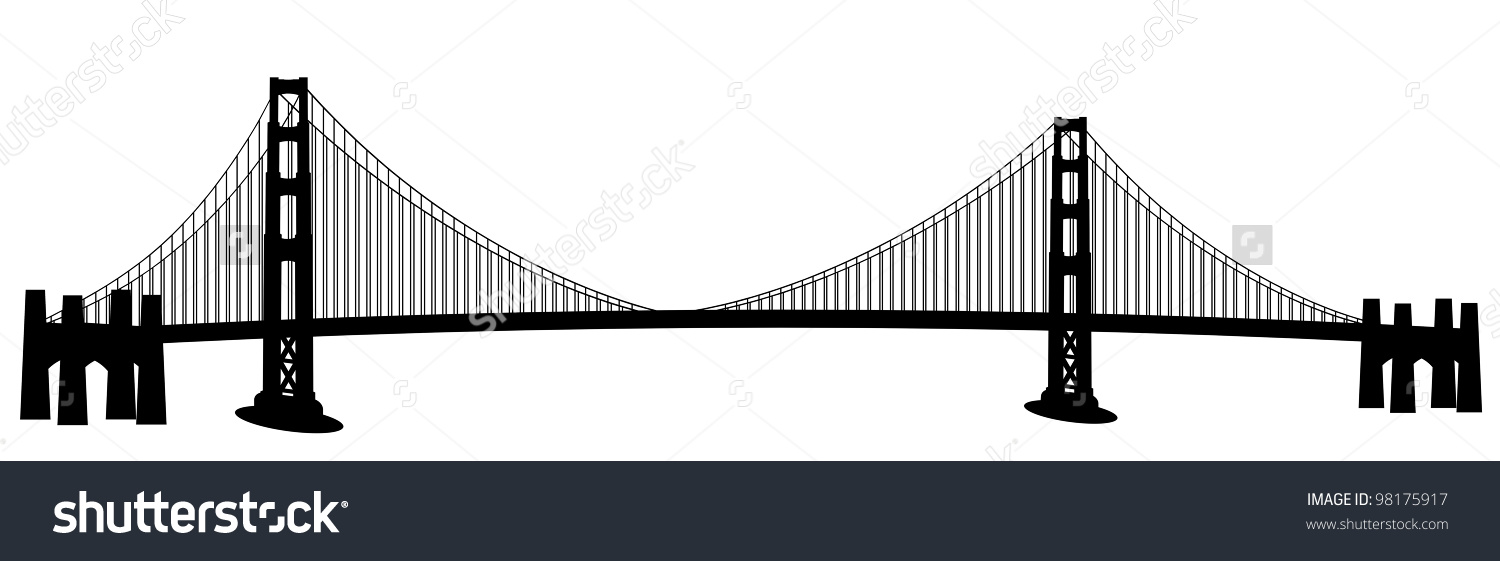San Francisco Golden Gate Bridge Black Stock Illustration 98175917.