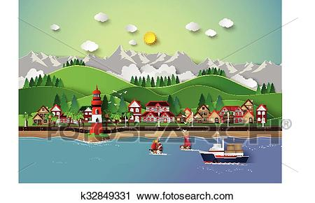 Village and sea bay. Clipart.