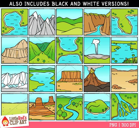A collection of landform clip art! Includes: bay, butte, canyon.