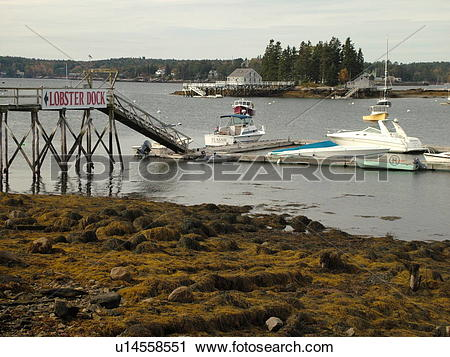 Stock Photography of Booth Bay Harbor, ME, Maine, fishing village.