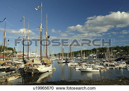 Stock Photography of Camden, ME, Maine, Penobscot Bay, harbor.