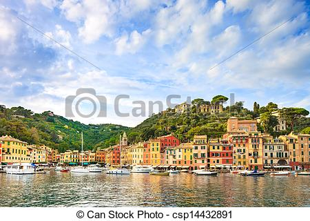 Stock Photographs of Portofino luxury landmark panorama. Village.